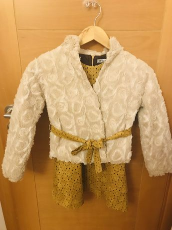 Conjunto casaco fofo e vestido
