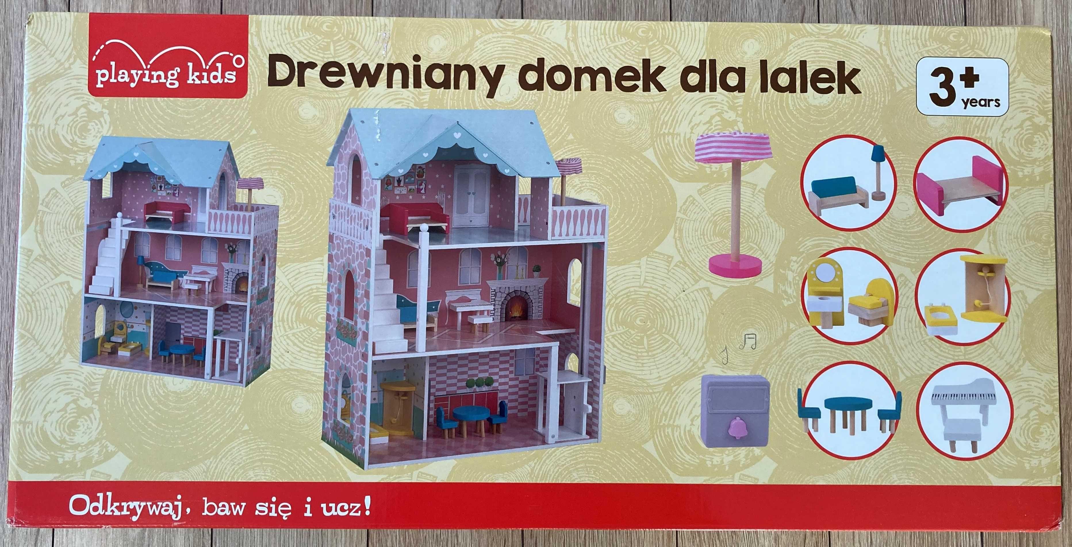 NOWY drewniany domek dla lalek PLAYING KIDS