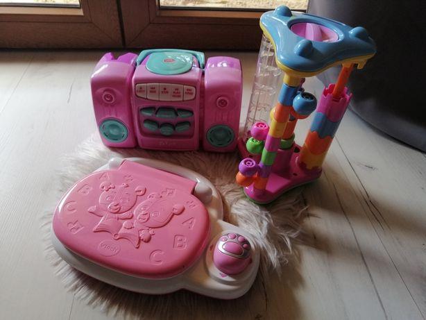 Zestaw zabawek interaktywnych dla dziewczynek radio laptop