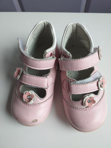Buciki dziewczęce na rzepy różowe w kwiatki rozm 22
