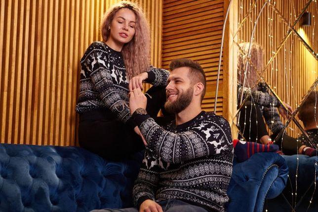 Свитер для пары, для двоих с оленями новогодний