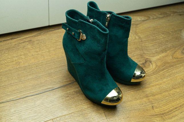 Botki buty na obcasie zielone stylowe r. 36
