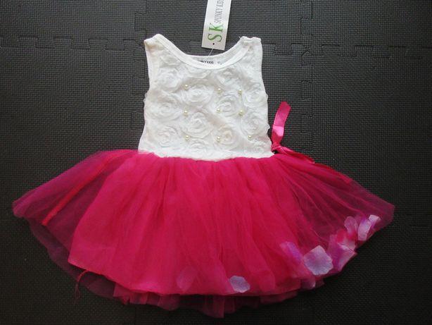Sukienka tiul, płatki róż rozmiar 74/80