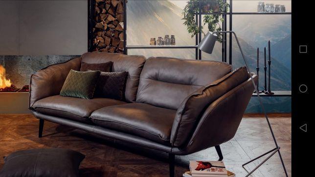 Nowa Sofa czekoladowa skóra promocja okazja loft