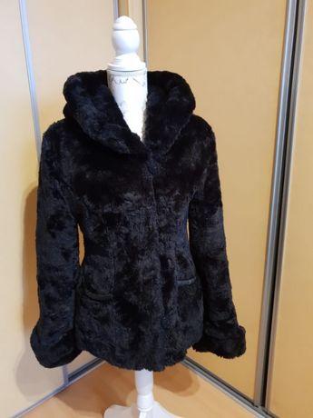 Czarne eleganckie, ciepłe futerko z kapturem, kurtka, rozm.36, Marconi