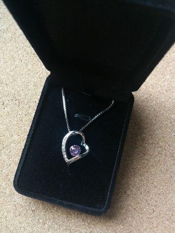 Biżuteria naszyjnik nowy z sercem kryształki Walentynki