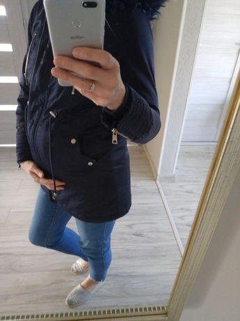 Granatowa kurtka ciążowa parka