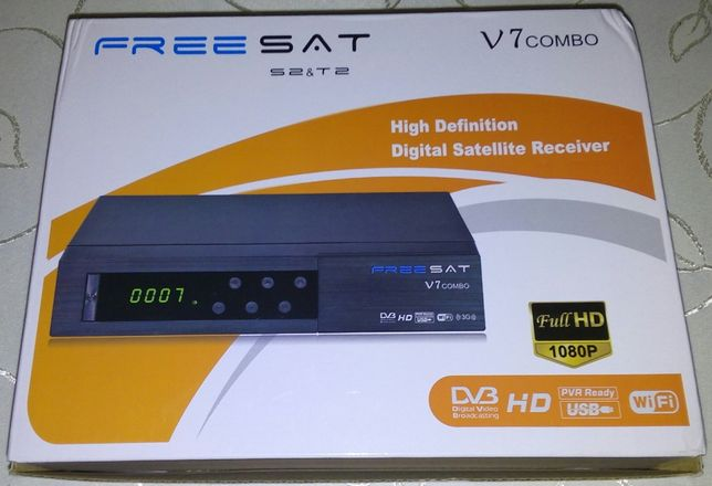 GT Media-FreeSat V7COMBO z kieszenią na karty TV,WiFi z USB