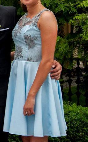 Sukienka błekitna z szarą koronką, rozmiar M