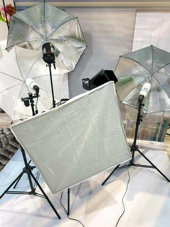 Kompletne wyposażenie studia fotograficznego (jak nowe)