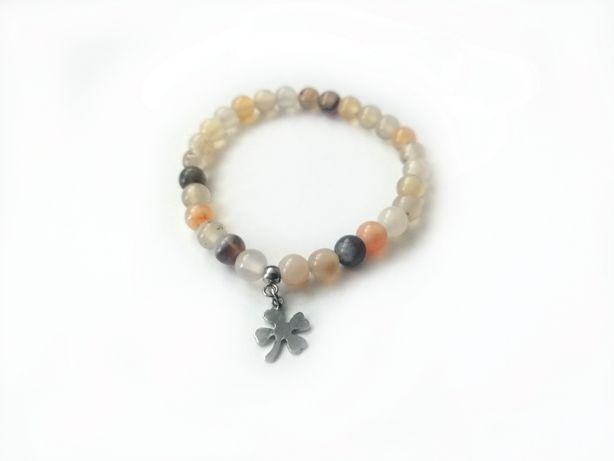 Bransoletka kamień naturalny handmade prezent agat oceaniczny