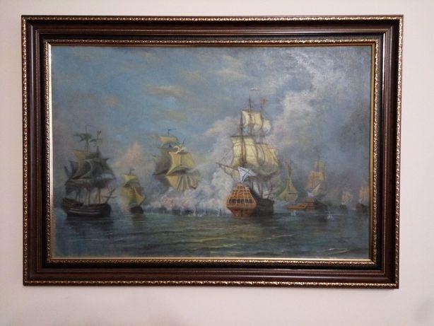 Картина Морское сражение. Холст, масло.