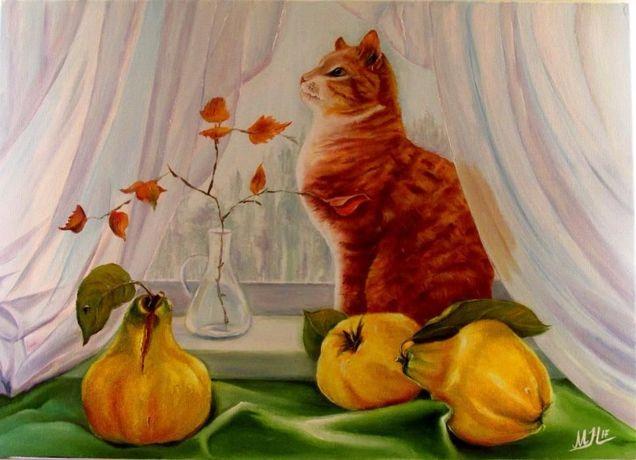 """Картина маслом """"Натюрморт с котом """""""