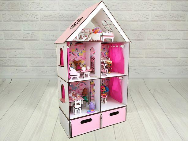 Кукольный домик конструктор с мебелью, текстилем и боксом для игрушек