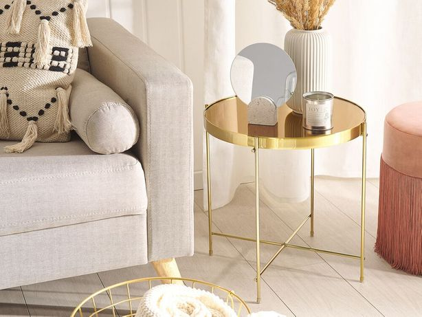 Mesa de apoio ø 40 cm castanha e dourada LUCEA - Beliani