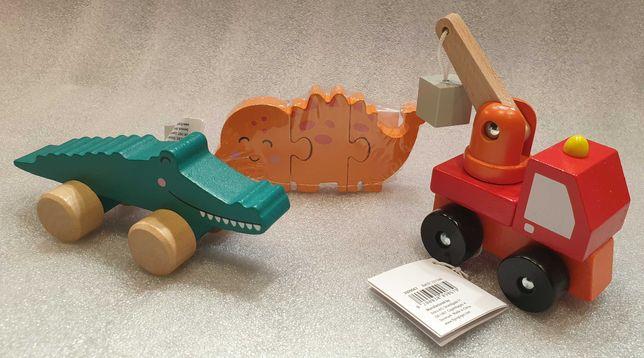 Zestaw 3 drewnianych zabawek Samochód Krokodyl i puzzle Dinozaur