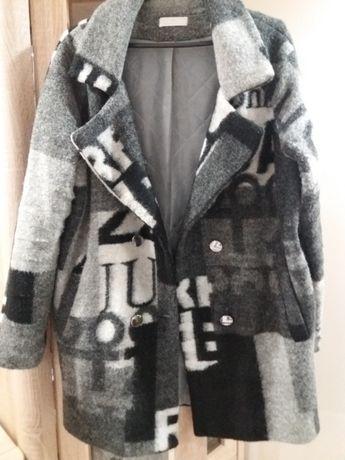 długa kurtka ocieplana wełna XL