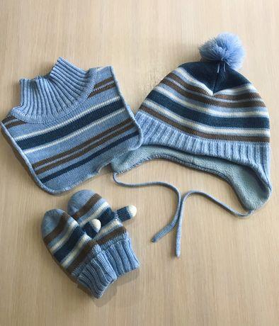 Шапка снуд хомут шарф рукавички перчатки набор комплект H&M