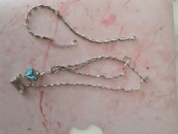 Łańcuszek srebrny wisiorki i bransoletka