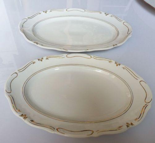 Półmiski porcelana wałbrzych 2szt biało-złote PRL lata 60-70
