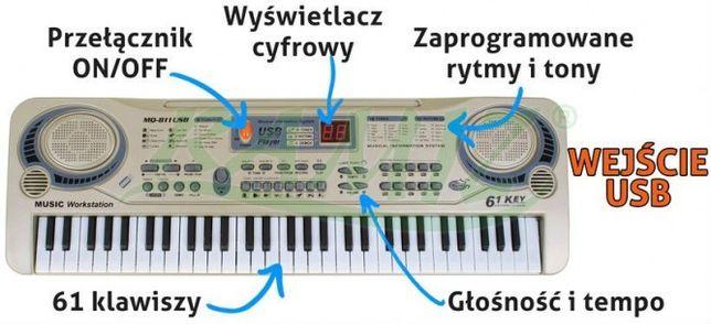 Keyboard dla Dzieci 811USB Syntezator Organy z Mikrofonem Odtw. MP3