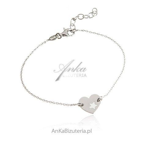 ankabizuteria.pl Srebrna bransoletka GWIAZDA W SERCU - modna biżuteri