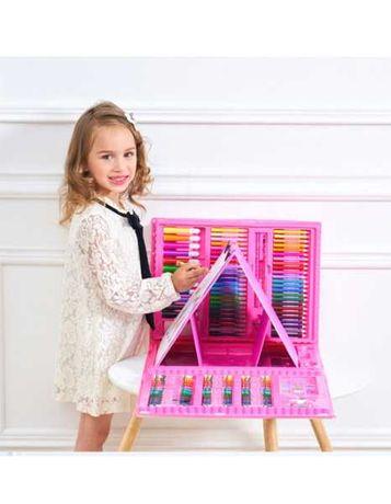 Художественный набор для рисования 208 предметов с мольбертом розовый