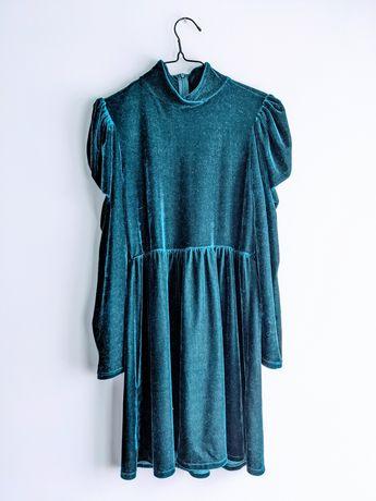 Welurowa sukienka butelkowa petrol niebieska stójka bufki Zara S