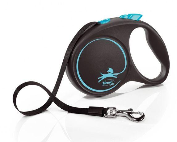 Trela Extensível para cão Flexi Preto Design em Fita (Azul)