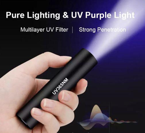 Мощный ультрафиолетовый фонарик 365нМ для проверки денег,документов