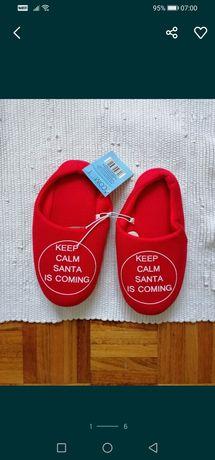 Kapcie klapki świąteczne czerwone 36 na 37 keep calm santa is coming