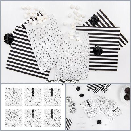 Torebki papierowe Black and White 6szt.
