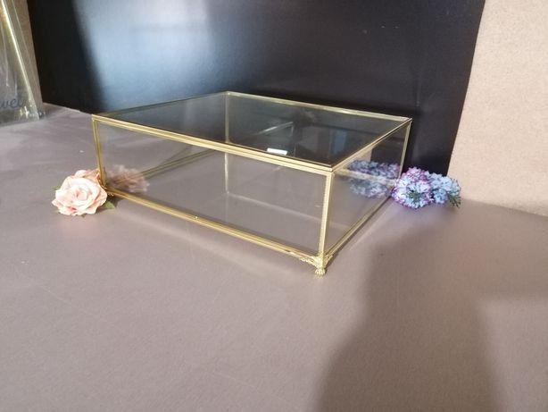 Pudełko szklane, gablotka, złote, glamour, mosiądz przezroczyste duże