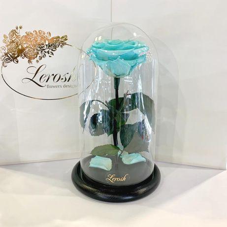 Бирюзовая роза в колбе Lerosh - Premium 27 см