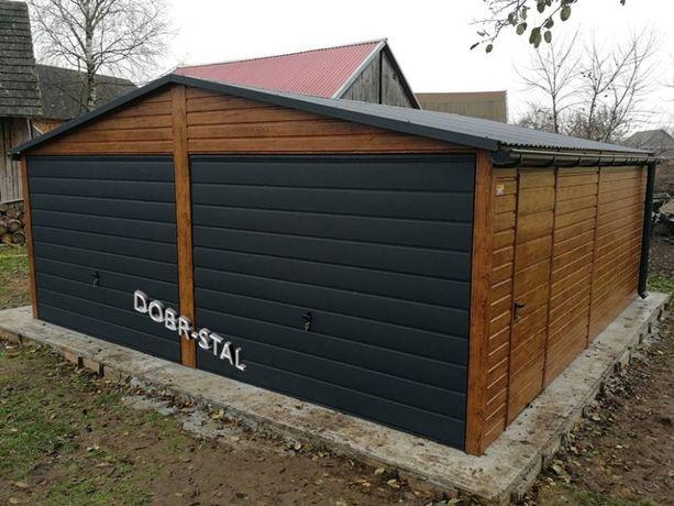 Garaż 6x6 Kolor Drewnopodobny, Bramy Grafit, Profil