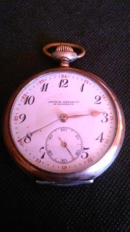 zegarek kieszonkowy srebra-srebro 800 antyk A. Abraham M. Gladbach.