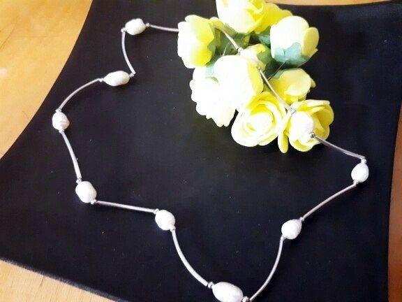 Ожерелье бусы колье натуральный белый жемчуг классика