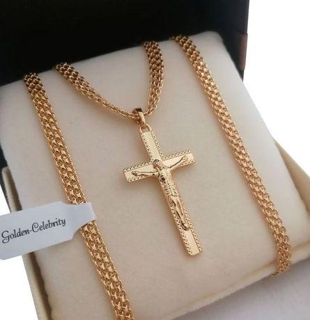 Złoty łańcuszek bismark 50 + krzyż 18 karatów GWARANCJA PREZENT