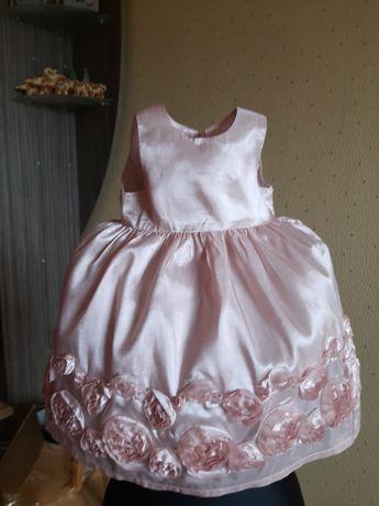 Платье атласное на годик