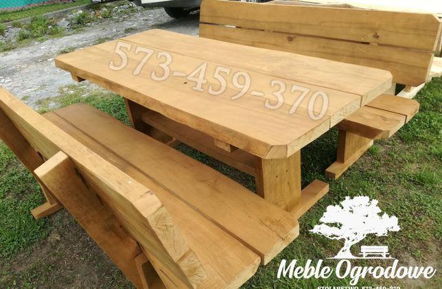Meble ogrodowe z litego drewna stół ławki krzesła solidne. Producent
