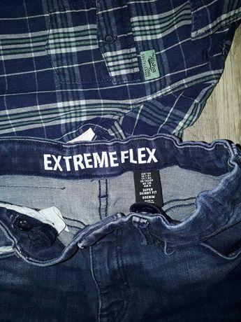 jeansy, rurki, spodnie skinny fit H&M extreme flex r. 128