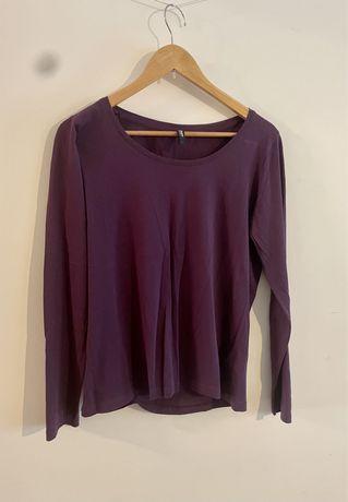 Prosta gładka bluzka fioletowa długi rękaw Takko 100% bawełna L 40