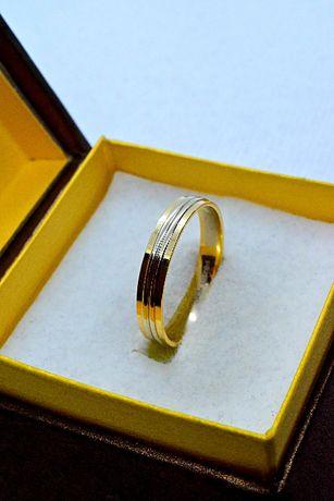 Ładna Złota Obrączka zdobiona Białym Złotem 585
