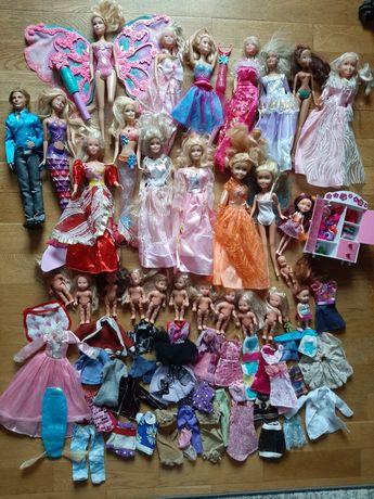 Ogromny zestaw lalek - m.in. Barbie, Steffi z szafą, ubraniami i butam