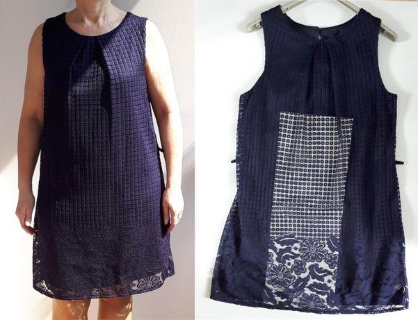 Sukienka granatowa koronka ATMOSPHERE L 40 wyprzedaż szafy