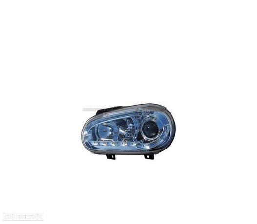 FARÓIS COM LUZ DIURNA LED / VW GOLF 4 MK IV / 97-03 FUNDO CROMADO