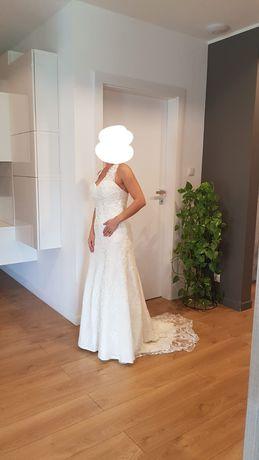 Suknia ślubna ecru koronka rozm.38 tren