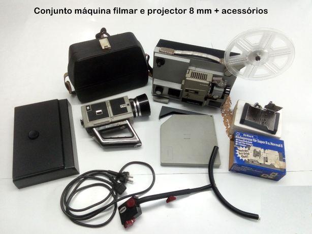 Máquina de Filmar 8 mm + projector 8 mm + acessórios, vintage