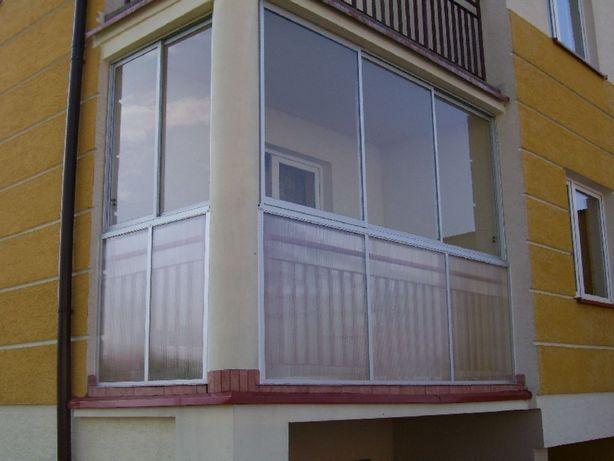 Zabudowy balkonów , zadaszenia , daszki , okna alumuniowe przesuwne