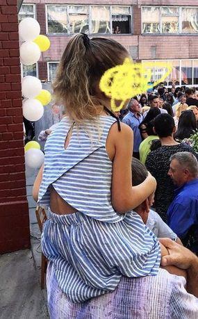 Платье летнее HM в полосочку 4-5 лет легкое лён h&m